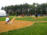Mayor Robert Klaus throws out the first pitch to Councilman Robert Delvecchio top open the 2012 season.