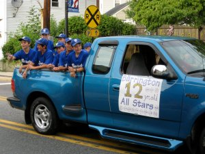12-year-old All-Stars during the borough's Independence Day parade Tuesday