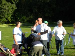 Mike Drumm, center, taking part in last year's attempt at the egg toss world record after the borough Harvest Festival.