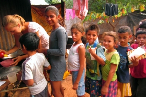 Nicaraguan children line up during part of an Education Plus program.