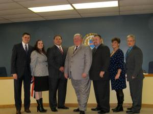Members of the borough council pose for a photo after the annual reorganization meeting in January at borough hall.