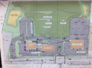 Click for detailed view of plans. Orange square at left is Super Wawa. Orange in center are Wawa gas pumps. At right is restaurant site. Entrance between gas pumps and restaurant is current Bell Avenue jughandle.