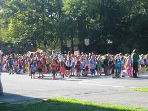 Students gather on the first day of class last week at Avon School.
