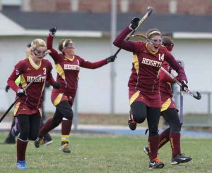 (Photo by Charles Fox for Philly.com) Haddon Heights players celebrate after their 1st-half goal against Collingswood on Nov. 12, 2013.