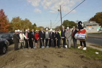 Local and regional elected officials are joined by Wawa and redevelopment executives to break ground on the long-awaited convenience store along the White Horse Pike in Barrington.